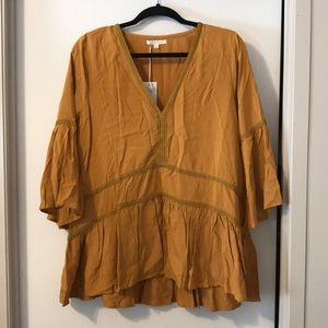 NWT Large Brand Baevely Mustard Top/Tunic